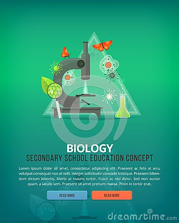 Education and science concept illustrations. Biology. Science of life and origin of species. Flat vector design banner.