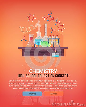 Education and science concept illustrations. Organic chemistry. Science of life and origin of species. Flat vector
