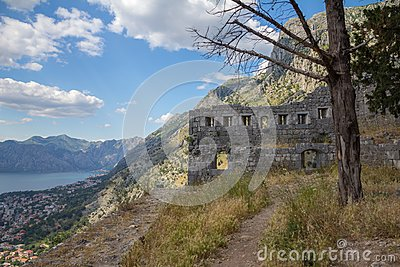 Old ruins along the city walls that climb behind Kotor, Montenegro
