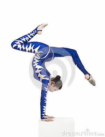 Acrobat, a circus artist in a blue suit.