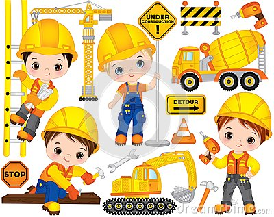 stock image of vector construction set with cute little builders, transport and tools. vector little boys
