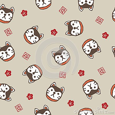 New year pattern with guardian dogs and plum flowers