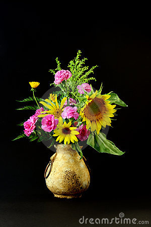 Sunflowers in Old Vase