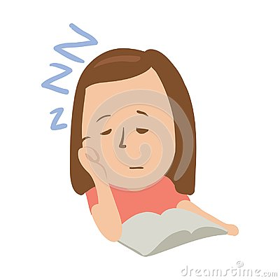 Sleepy girl with closed eyes in front of an open book. Isolated flat illustration on a white backgroud. Cartoon vector