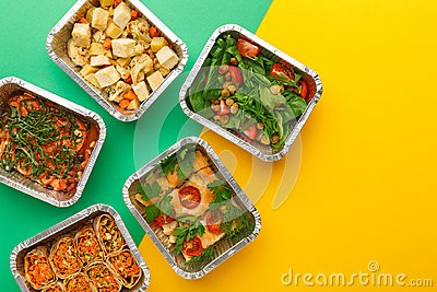 Healthy meals delivery. Eating right concept, copy space, top view.
