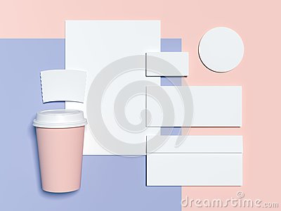 Blue-pink branding mockup with blank sheets, envelope and business cards. 3d rendering