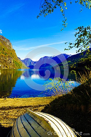 Fjord Lake and Wooden Boat, Norway Scenery, Norwegian Landscape