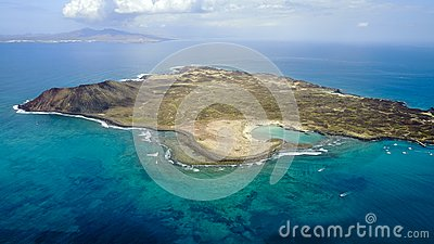 Aerial view of lobos island, canary islands