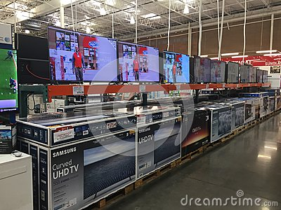 stock image of tv on display in a costco store.