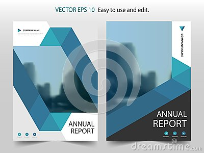 Blue abstract triangle Brochure annual report design template vector. Business Flyers infographic magazine poster.