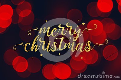 Merry Christmas Script and Stars with Red Bokeh Lights Background