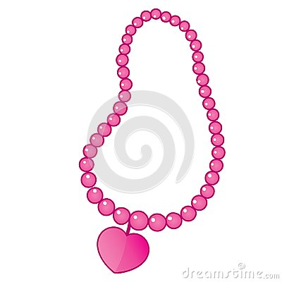 Vector Beaded Necklace with Heart Shape Pendant