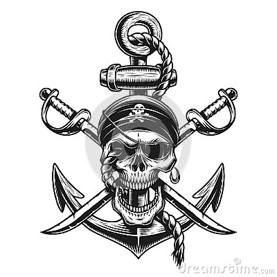 Pirate skull emblem with swords, anchor