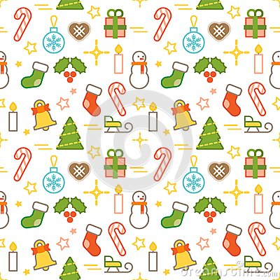 Seamless illustrated Christmas themed line style vector pattern