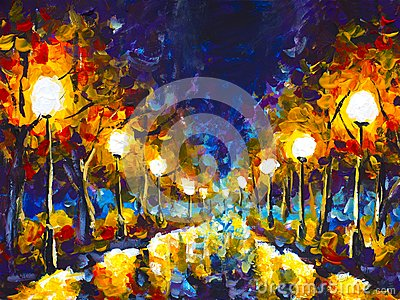 Original expressionism oil painting evening park cityscape, beautiful reflection on wet asphalt on canvas. Abstract violet-orange