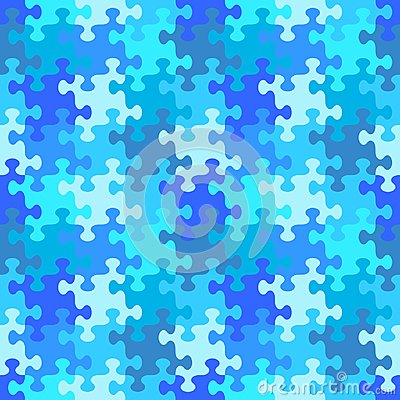 Seamless jigsaw puzzle pattern of water or winter blue colors