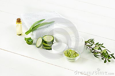 Cucumber and aloe cosmetic cream face, skin and body care hygiene moisture lotion