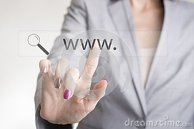Female hand touching a web search bar with www and magnifying glass icon