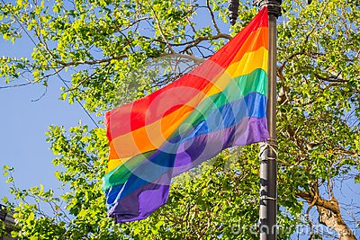 Rainbow flag blowing in the wind, LGBTQ pride month, San Francisco, California