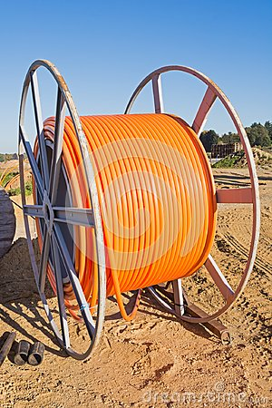 Fiber optic cable roll for broadband internet