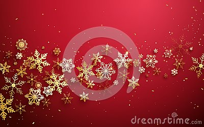 Merry Christmas and Happy new year. Abstract gold snowflakes on red background