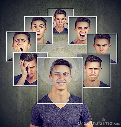 stock image of portrait of a happy masked young man expressing different emotions