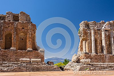 Ruins and columns of antique greek theater in Taormina