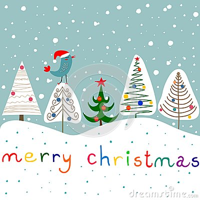 Stylized Doodle Fir Trees Ornaments Baubles Star Forest. Snowfall Cute Kawaii Bird in Santa Claus Hat. Blue Background.Christmas