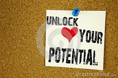 Conceptual hand writing text caption inspiration showing Unlock Your Potential. Business concept for Growth and Development writte
