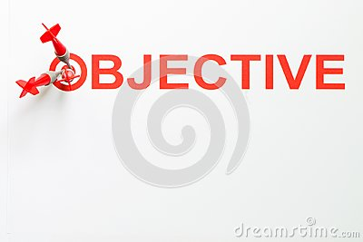 Objective text with dart on target