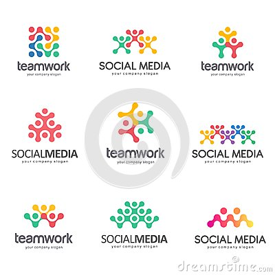 Set of vector logo design for social media, teamwork, alliance