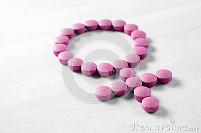 stock image of medicine for woman.