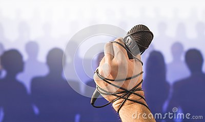 Stage fright in public speaking or bad karaoke singing live