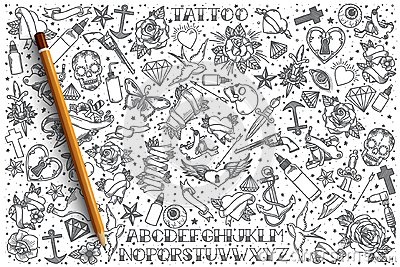 Hand drawn Tattoo vector doodle set