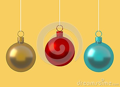 Colorful Christmas ball ornament hanging on yellow background. New Year`s Eve decoration golden red shiny convolution lines  hang
