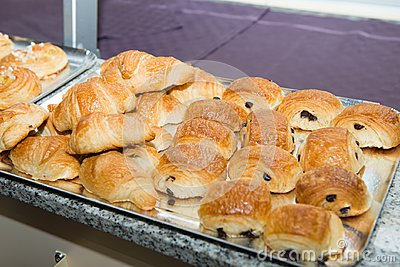 French viennoiserie pain au chocolat and croissants