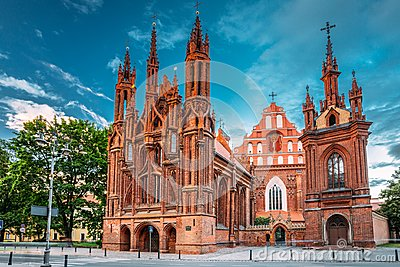 Vilnius, Lithuania. View Of Roman Catholic Church Of St. Anne And Church Of St. Francis And St. Bernard In Old Town In