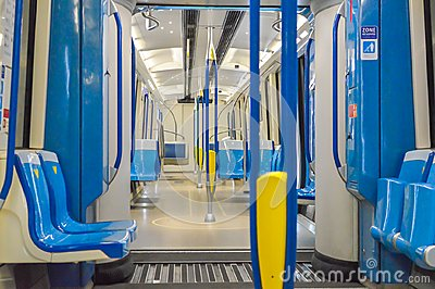 Inside of the new metro train in Montreal