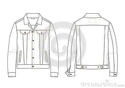 Technical sketch of denim jacket in vector.
