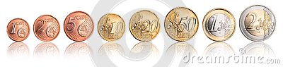 Euro and cent coin currency set