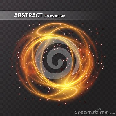 Light effect line gold vector circle. Glowing light fire ring trace. Glitter magic sparkle swirl trail effect