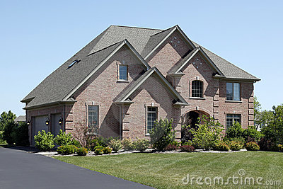 Luxury brick home in suburbs