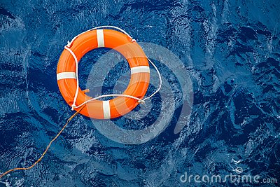 Safety equipment, Life buoy or rescue buoy floating on sea to rescue people from drowning man