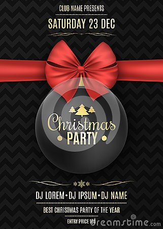 Invitation to a Christmas party. Black ball with a red ribbon on a black background with a pattern. The names of the DJ