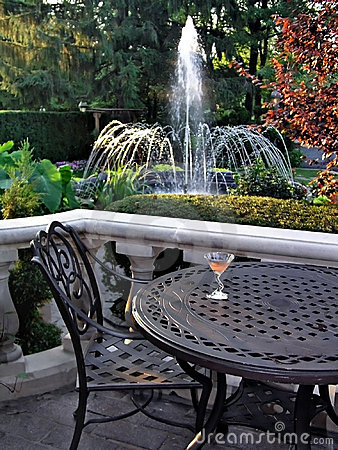 Table, Chair and fountain