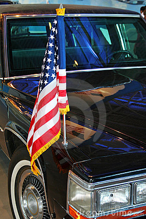 US flag on limo