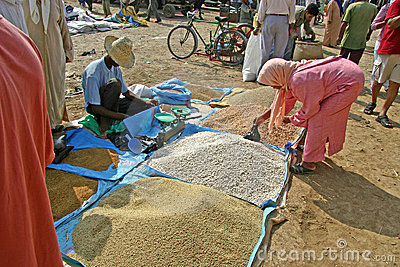 Buying couscous on the Market