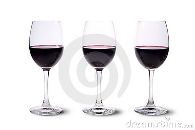 Three red wine glasses