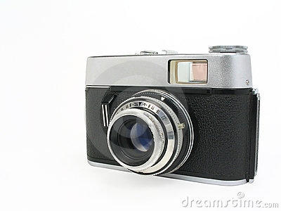 Old classic film camera with clipping path