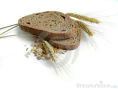 Brown bread, rye ears (spikes) and corn